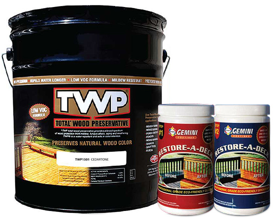 TWP 1500 Series Deck Stain 5 Gallon and Gemini Cleaner/Brightener Kit